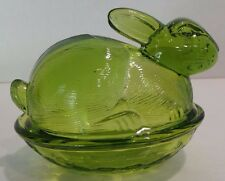 Green Pressed Glass Bunny Rabbit Nesting Basket Weave Dish Box with Lid