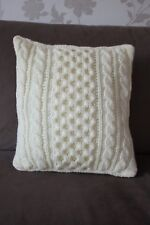 ARAN Hand Knitted Cream Cushion Cover & Insert with Button Back Closure