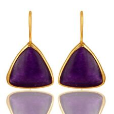 925 Sterling Silver Natural Aventurine Amethyst Quartz Drop Earrings Jewelry