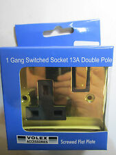 Volex 1 Gang Switched Socket 13a Double Pole Black Interior Polished Brass Flat