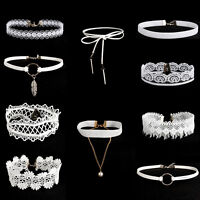 10Pcs/Set Women's Gothic White Velvet Tattoo Lace Choker Collar Pendant Necklace
