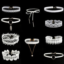 10Pcs/Set Women's Gothic White Velvet Tattoo Lace Choker Collar Pendant Necklace