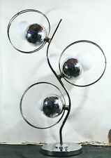 Vintage 1960s MID CENTURY MODERN Concentric Circular Table Lamp Chrome Lighting