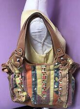 Fossil Canvas Leather Handbag Multi Colored Key LARGE ~Spring ~