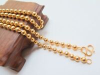 "Authentic 22k Yellow Gold 5 mm W Smooth Bead Link Chain Necklace 22"" / 37.2 GM"