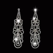 NEW Clear Rhinestone Crystal  Earrings Drag Queen Bridal Pageant 4 Inch Clip On