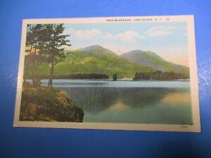 1930 Twin Mountains Lake George New York Post Card PC39