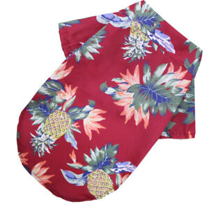 Small Dog T-shirt Beach Pineapple Coconut Print V Neck Short Sleeve Pet Clothes