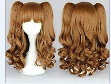 New Brown 75cm Long Split Lolita Clip On Ponytails Curly Wavy Cosplay Hair Wig