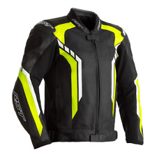 RST Axis Leather Motorcycle Motorbike Jacket - Black / Yellow / White