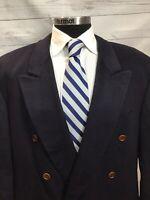 Luxe Hugo Boss 46R Solid Navy Blue DB Blazer,100% Loro Piana Cashmere Sportcoat