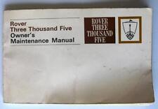 ROVER tremila cinque-Manuale Auto-FEBBRAIO 1969 - # 605879 - 2a EDIZIONE