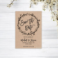 SAVE THE DATE CARDS PERSONALISED INVITATIONS MAGNETS WEDDING CARD RECYCLED KRAFT
