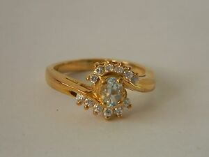 TOPAZ & CLEAR CZ, GOLD PLATE RING SIZE 7 ESTATE SALE