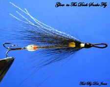 sewin/ sea trout salmon BLACK & SILVER GLOW IN DARK snake flies X 3.