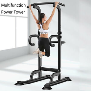 Power Tower Dip Station Pull Up Bar Strength Training Workout Equipment Home Gym