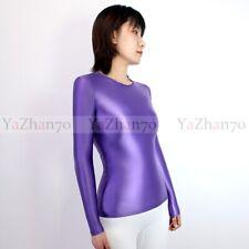 Women's Tops Shirt T-shirt Long Sleeve Blouse Tops Glossy Spandex BodySuit Slim
