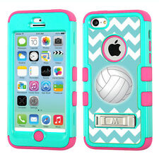 For Apple iPhone 5C Kick Stand Hybrid Case (Teal/Pink) - Volleyball / Chevron