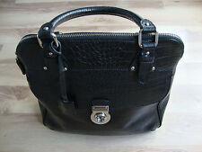 MADELEINE Handtasche, Damen, Kroko-Optik, schwarz