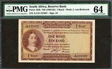South Africa 1962-1965, 1 Rand, P102b, PMG 64 UNC