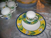 -24 pc SET Mint Condition Mikasa  Flower Fest 3x8--DINNER PLATE & CUP/SAUCER