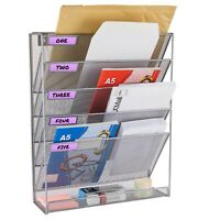 Magazine Rack Document File Holder Literature Storage Wall Mounted Metal Silver