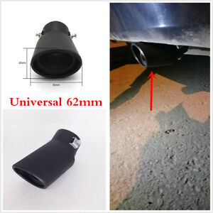 1pcs Car Exhaust Bend Pipe 62mm Tips Muffler Tail Throat Black Stainless Steel