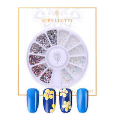 BORN PRETTY AB Color Nail Rhinestone 3D Nail Art Decoration in Wheel Flat Bottom
