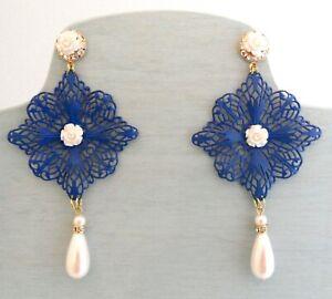 "Massive 4"" Filigree Earrings Lapis Blue White Teardrop Pearl Victorian Revival"