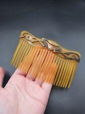 Metal Huge Hair Comb Vintage Antique Edwardian Horn and