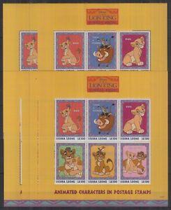 Y458. 5x Sierra Leone - MNH - Animation - Disney - The Lion King