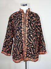 Vintage Kashmiri Embroidered Light Jacket Button Front Susani ~ Black / Orange