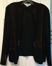Ming Wang Black Red Open Front Cardigan Jacket Sz PXL Petite XL Knit Embroidered