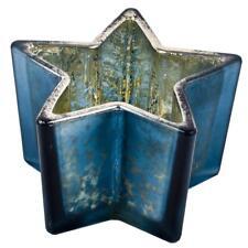 Windlicht Teelichthalter Stern Glas 7x11x11cm blau Xmas Weihnachtsdeko