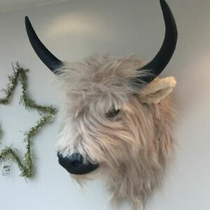 Faux Highland Cow Head Artificial Wall Mounted Faux Taxidermy Beige Fake Fur