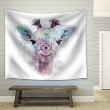 Fun and Colorful Splattered Watercolor Giraffe - Fabric Tapestry - 51x60 inches