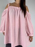 AUTOGRAPH Pink White Striped Cold Shoulder Cotton Blend Top Plus Size AU 26