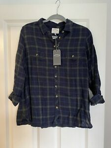 Fatface Navy And Green Shirt Size 16 BNWT