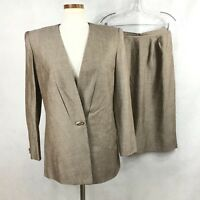 Kasper ASL Womens  Linen Blend  Brown Skirt Suit Sz 8