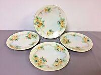 "4 Antique D & Co. France, Hand Painted Porcelain Plates, Yellow Rose Design 7.5"""