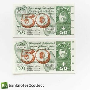 SWITZERLAND: 2 x 50 Swiss Franc Banknotes with Consecutive Serial Numbers.