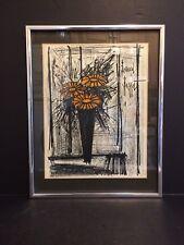 "BERNARD BUFFET SIGNED 1968 STONE LITHOGRAPH ""FLOWER"" (w/ COA) LIMITED EDITION"