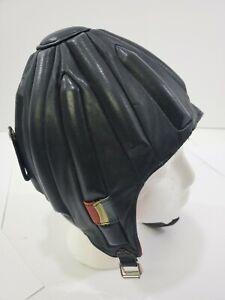 VINTAGE LEATHER Skull Cap Helmet RICHARD-PONTVERT FRANCE Sky diver Steampunk
