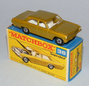 MATCHBOX SUPERFAST #36a OPEL DIPLOMAT LIGHT GOLD WITH SILVER GRILLE MINT BOXED