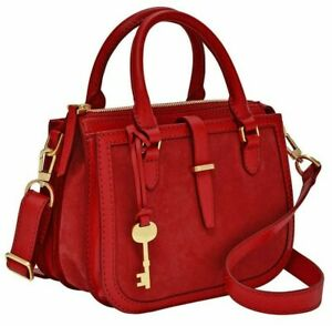 Fossil Ryder Brick Red Leather Mini Satchel Crossbody ZB7847646 NWT $218 MSRP FS