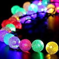 Solar Outdoor 20ft 30LED Multi Christmas Lights Fairy Bubble Crystal Ball Hot