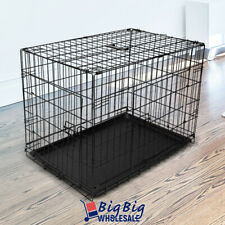 "30"" [Medium] Portable Folding Black Dog Crate Pet Cage Pen Kennel 2-Doors w/Tray"