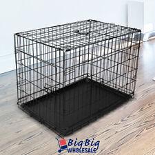 "30"" [Medium] Portable Folding Black Dog Crate Pet Cage Pen Kennel 2-Doors w/Tray"