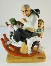 "Norman Rockwell Danbury Mint Porcelain Figurine ""Gramps at the Reigns"" 1980"