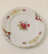 More details for antique bavarian large porcelain floral gilded plate in great condition